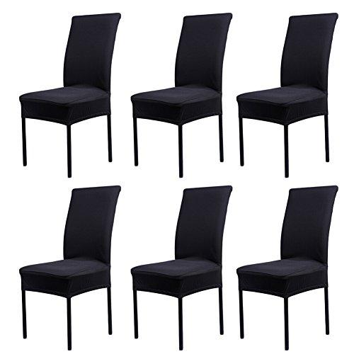 6x Stuhlhussen Strech Dining Chair Bezug waschbar Stuhl-Abdeckung für Hotel, Haus Dekoration, Hochzeitsessen Stuhlhusse - Schwarz