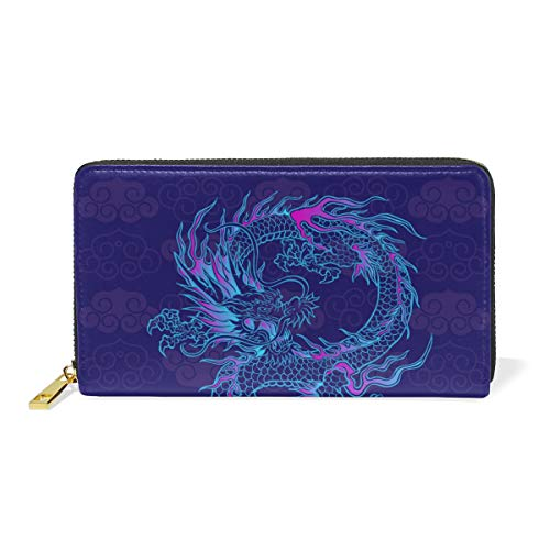 (Women Genuine Leather Wallet Purple Chinese Dragon Zipper Purse Girl Phone Clutch)