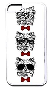 3 Hipster Puppies-Shades and Red Bow Ties- Case for the APPLE iPhone 6 4.7 -Hard White Plastic Outer Case with Tough Black Rubber Lining