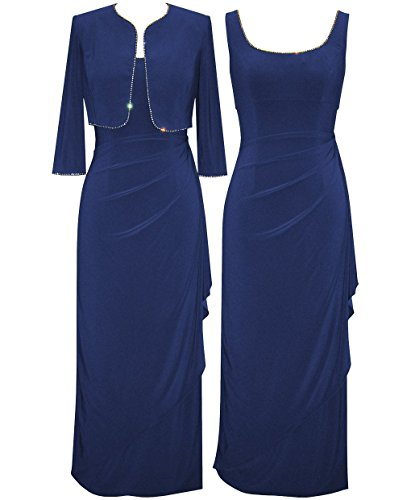 Alex Evenings Women's Long Ruffle Front Dress with Jacket Set (14W, Ocean Blue)