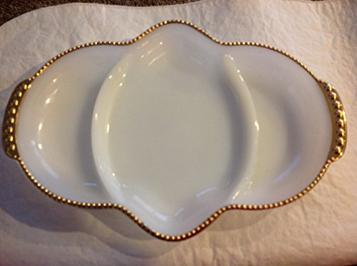 (Fire King Oven Ware Milk Glass Divided Relish Condiments Serving Dish)