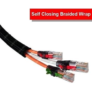 50 Feet White Electriduct 1.25 Hook Self Closing Braided Wrap