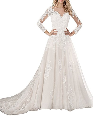 Ruiyuhong Illusion Neck Lace Bridal Dress Long Sleeve Tulle Wedding Gown RHS58 Ivory Custoom by Ruiyuhong