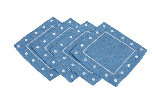Xia-Home-Fashions-Polka-Dot-Embroidered-Easy-Care-Square-Coaster