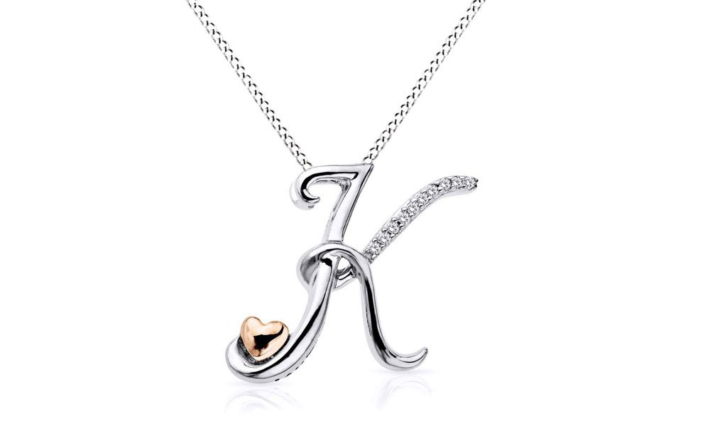 Two Tone Sterling Silver Natural Diamond Accents ''A - Z'' Initial & Heart Pendant Necklace