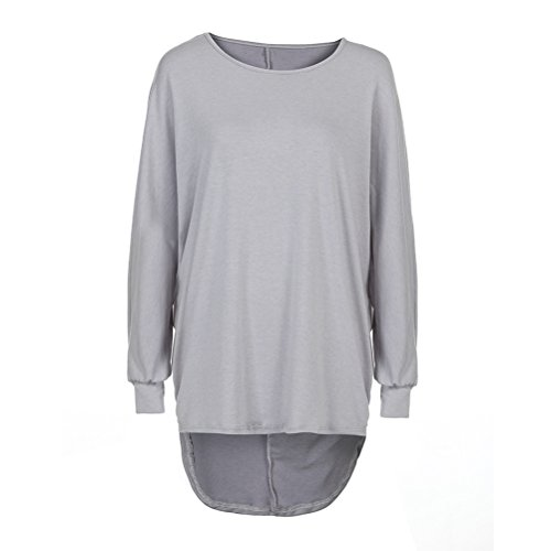 FuweiEncore T-shirt da donna in cotone a maniche lunghe Camicetta sexy Collo tondo Chic chic Allentato Casual Taglie forti Autunno Inverno Grigio