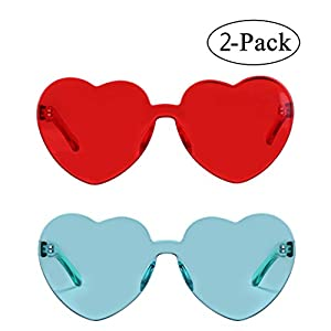 Heart Shape Rimless Sunglasses One Piece Transparent Candy Color Eyewear (red+green)