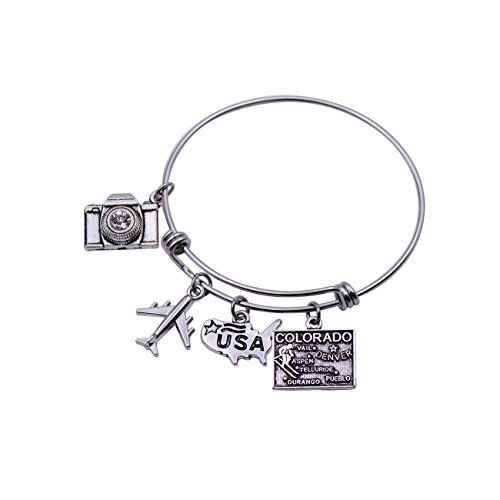 DYbaby Travel Bracelet US Map Charm and State Map Charm Expandable Wire Bracelet Necessary Gift for Travellers (Colorado) (Jewelry Colorado Map)
