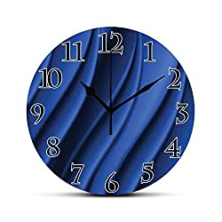 BCWAYGOD Navy Blue Silent Wall Clock Ocean Waves Inspired Design with Digital Reflection Aqua Sea Abstract Artwork Desk Clock Round Unique Decorative for Home Bedroom Office 10in