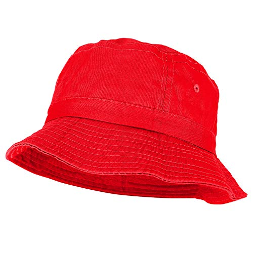 Hat Dyed Kids - Youth Pigment Dyed Washed 100% Cotton Bucket Hat - RED