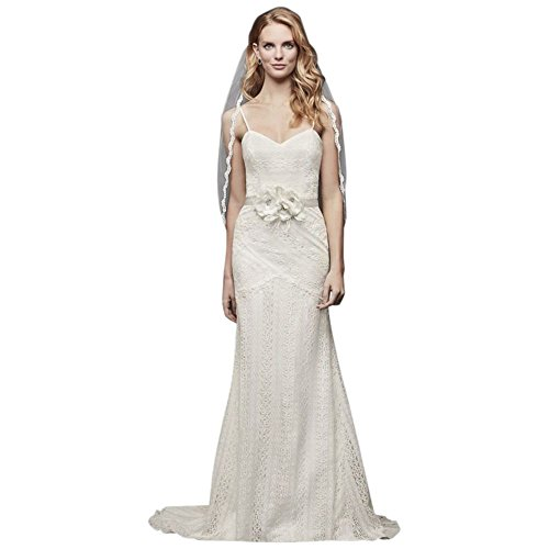Allover Lace Tank Sheath Wedding Dress Style WG3916, Ivory, 8