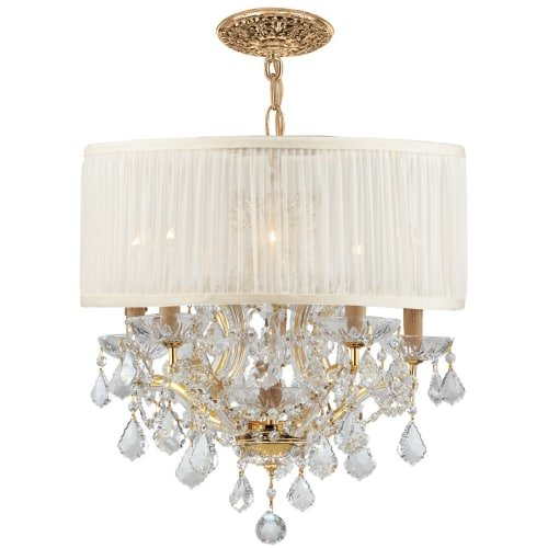 Gd Cls Crystorama Lighting (Crystorama 4415-GD-SAW-CLS Crystal Accents Five Light Mini Chandeliers from Brentwood collection in Gold, Champ, Gld Leaffinish,)
