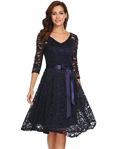 Empire Floral Cocktail (ANGVNS Women 3/4 Sleeve Floral Lace Cocktail Evening Empire Waist Dress Navy Blue S)