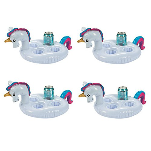 Inflatable Floating Unicorn Coaster for Four (Multi-Pack of 4 Unicorns) - Beverage Cup Holder Drink Floats - Pool Party Supplies ()
