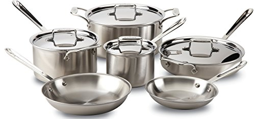 All-Clad BD005710-R D5 Brushed 18/10 Stainless Steel 5-Ply Bonded Dishwasher Safe Cookware Set, 10-Piece (Renewed)