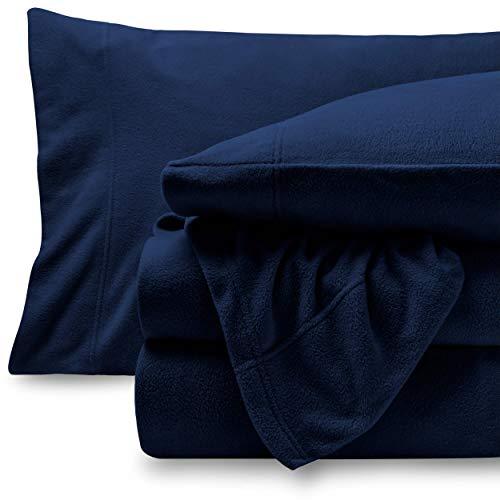 Bare Home Super Soft Fleece Sheet Set - Twin Size - Extra Plush Polar Fleece, Pill-Resistant Bed Sheets - All Season Cozy Warmth, Breathable & Hypoallergenic (Twin, Dark Blue)