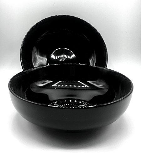 7.75'' Round Serving Soup Cereal Bowl - Black (Pack of 2) by W&P Trading Corp