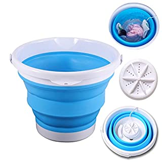 Portable Mini Foldable Washing Machine with Turbo Compact Ultrasonic Washer, Folding laundry Lazy Magic Tub USB Powered Lightweight Washer for Home Travel Dormitory Apartment