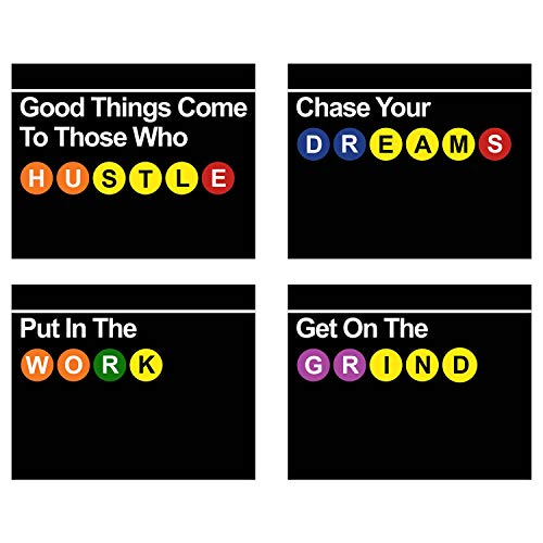 Summit Designs Inspirational Subway Sign Wall Art Decor Prints - Set of 4 (8x10) Poster Photos - Hustle Grind Work Motivation