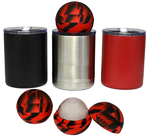 10oz Lowball with Lid Perfect for Coffee, Whiskey, Cocktails - Durable Stainless Steel POWDER COATED Double Wall Vacuum Insulated - WITHOUT ICE MOLD - Red ()