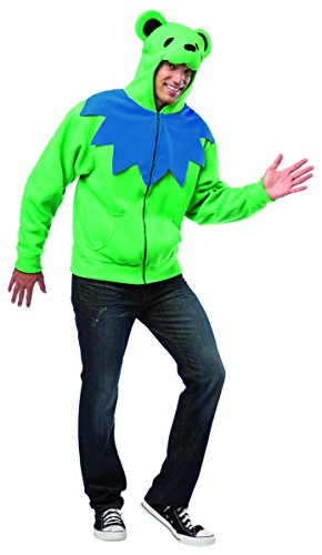 Grateful Dead Orange Bear Adult Costumes - Rasta Imposta Juniors Hoodie Grateful Green Bear, Green/Orange/Black, One Size