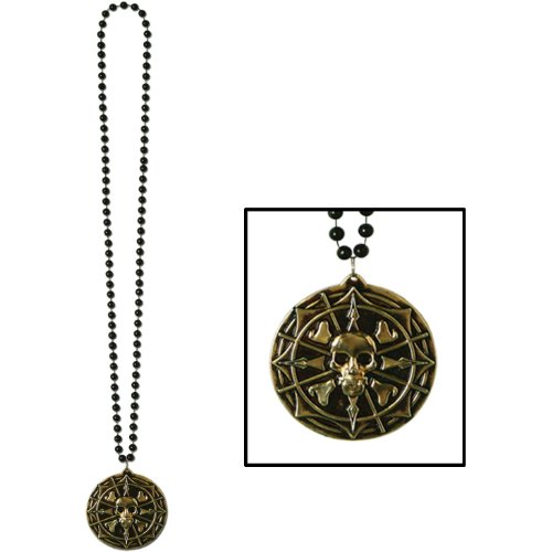Beistle 50270 Decorative Beads with Pirate Coin Medallion,