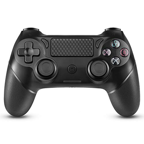 JAMSWALL PS4 Controller Dualshock 4 Wireless Black for PS4 / Pro/Slim/PC Windows, Touch Panel Gamepad ​with Six-Axis Joystick, Non-Slip Handle and LED Indicator