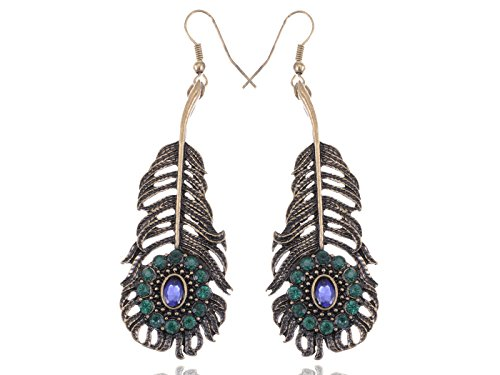 Swan Feather Earrings - Alilang Antique Golden Tone Blue Green Purple Crystal Rhinestones Peacock Feather Dangle Earrings