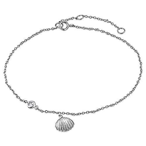 925 Sterling Silver Bezel-Set CZ Seashell Womens Link Chain Anklet Bracelet