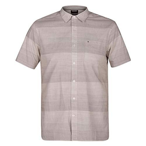Hurley Mens Morris Tailored Fit Short Sleeves Button-Down Shirt Beige - Polo Hurley Shirt Cotton