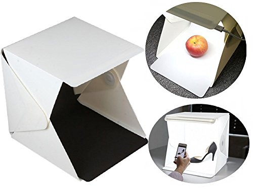 SPJ: Folding Portable Photo Studio Box Table Top Shooting Tent LED Light White Black Two Pieces Background Cloth Micro USB Cable and Simple Pouch Set