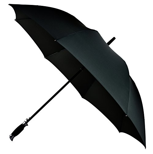 LifeTek New Yorker Large Golf Umbrella 54 Inch Automatic Open Full Size Extra Big Stick Umbrellas Windproof Strong Folding Oversize Teflon All Weather Rain Umbrella Sturdy Sports Men Women Black