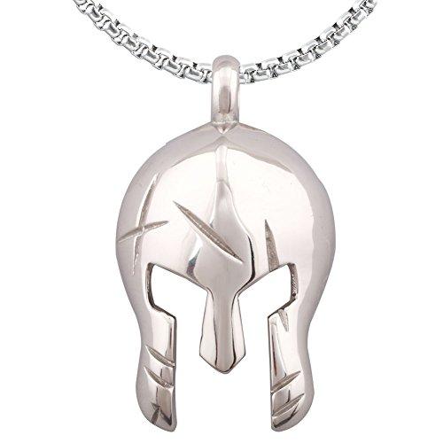 Spartan Roman Mask Warriors Gladiator Statement Helmet Stainless Steel Pendant Necklace (Roman Steel Helmet)