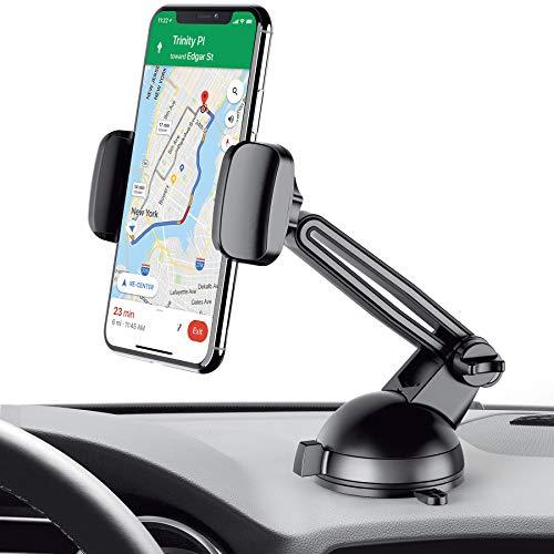 Merkury Innovations Car Phone Mount, Windshield & Dashboard Car Phone Holder, Sticky Gel Pad, for iPhone X/8/8Plus/7/7Plus/6s/6Plus/5S, Galaxy S5/S6/S7/S8, Google Nexus, LG & More (Black/Space Grey) ()