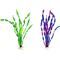 2pcs/ 30cm Purple Green Artificial Plastic Grass Aquarium Sea weed Plant Fish Tank Ornament Decoration Purple Green