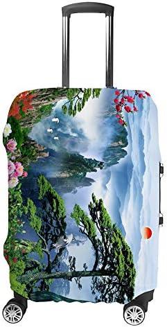 スーツケースカバー トラベルケース 荷物カバー 弾性素材 傷を防ぐ ほこりや汚れを防ぐ 個性 出張 男性と女性伝統的な美しい風景画