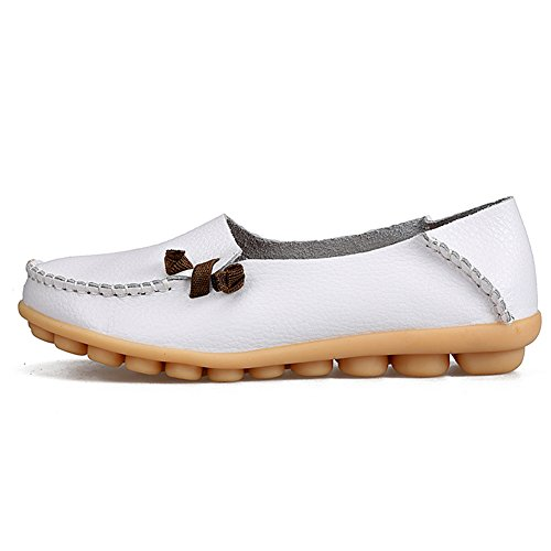 soled Shopping Driving Leather White Womens Soft on Genuine Casual Fashion Loafers Shoes Slip for fereshte Flat Oznq6Tx