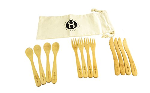 Premium Bamboo Reusable 3-Piece Flatware Set with Fork, Spoon, and Knife - Earth Friendly Material by Island Bamboo (4 Sets of 3 (12 Total Utensils))
