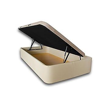 Ventadecolchones - Canapé Apertura Lateral Gran Capacidad Modelo Serena tapizado en Polipiel Crudo Medidas 105 x 190 cm: Amazon.es: Hogar