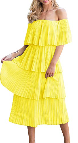ETCYY Women's Off The Shoulder Ruffles Summer Loose Casual Chiffon Long Party Beach Maxi Dress Yellow
