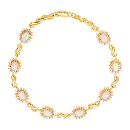 14k Pink Sapphire Bracelet - 1 1/2 ct Created Opal & Pink Sapphire Link Bracelet in 14K Gold-Plated Sterling Silver