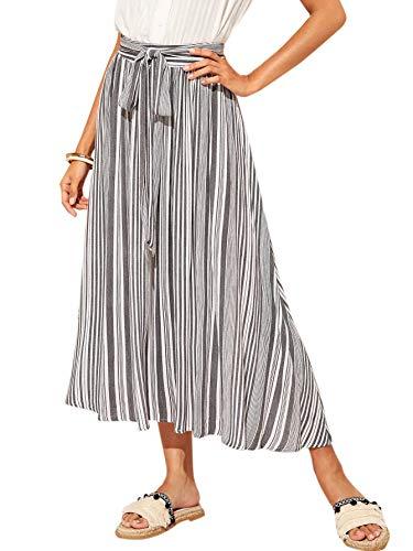 (WDIRARA Women's High Waist Vertical Striped Belted Long A Line Skirt Grey L)