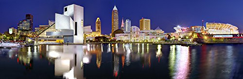 Cleveland Skyline 2018 PHOTO PRINT UNFRAMED NIGHT Color City Downtown 11.75 inches x 36 inches Rock Roll Hall of Fame Photographic Panorama Poster Picture Standard Size