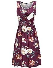 OUGES Womens Maternity Dress with Pockets Sleeveless Summer Nursing Dresses for Breastfeeding
