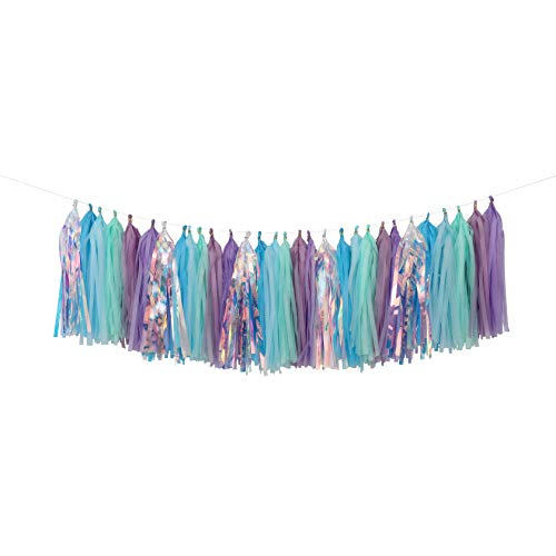 Fonder Mols Mermaid Tassels Garland Tissue Paper Tassels Banner DIY Kit Mermaid Party Decorations (Pack of 35, Purple-Lavender-Mint-Blue-Rainbow) A09
