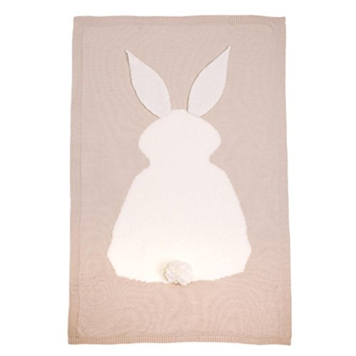 [AMA(TM) Baby Kids Rabbit Knitting Blanket Bedding Crib Wrap Swaddle Blanket (Beige)] (Human Wolf Costume)
