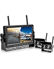 """Podofo FHD 1080P Digital Wireless Backup Camera Kit, 7"""" LCD Monitor Support Split Screen with blue backlit buttons 2 Rear View Cameras IP69 Waterproof Infrared Night Vision for Bus/RV/Truck/Trailer/Motorhome/Boat"""