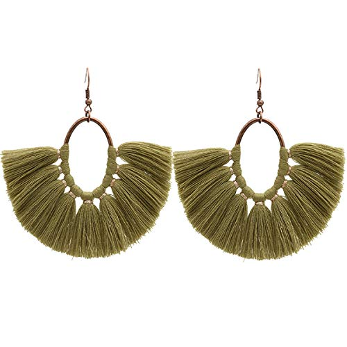 MeliMe Tassels Statement Dangle Earrings for Women Lightweight Fringe Hoop Earrings (Olive Green)