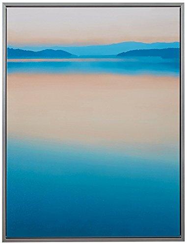 Calm Paradise Water Horizon at Dawn Canvas Wall Art, Silver Frame, 31.75 x 41.75