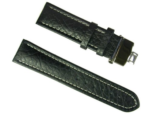 BANDA WYOMING BUFFALO LEATHER WATCHBAND WITH STAINLESS DOUBLE FOLDING BUTTERFLY CLASP DEPLOYANT BUCKLE DESIGN-REAL ITALIAN CALF LEATHER-20 mm BLACK COLOR